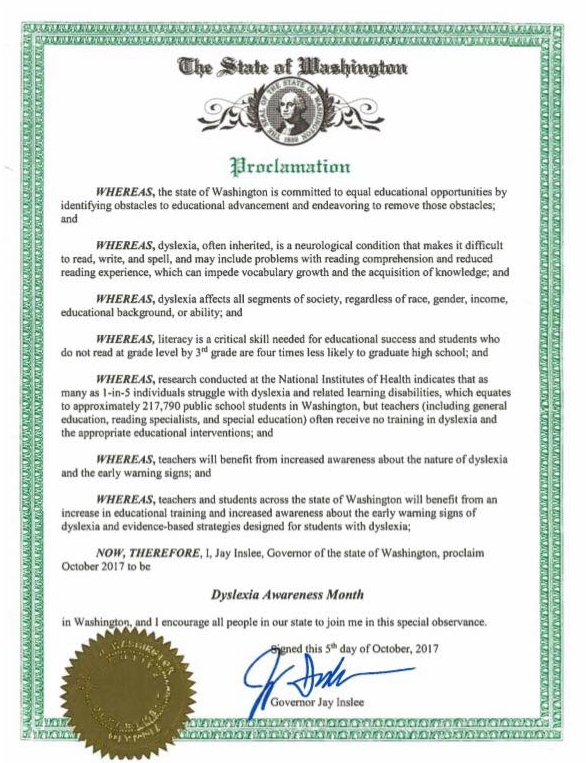 Governor Jay Inslee has declared October to be Dyslexia Awareness ...